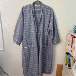 Pierre Cardin Blue White Plaid Robe With Belt